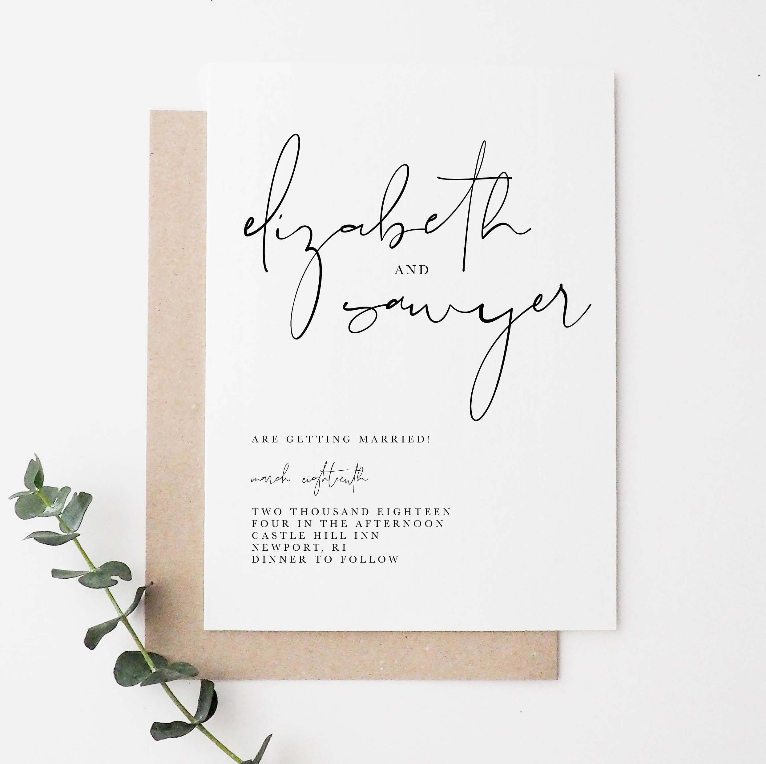 Simple Wedding Invitations: Simple Wedding Invitation Minimal Wedding Invitation