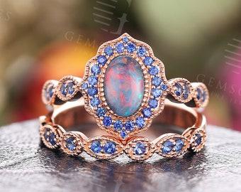 Black Opal engagement ring set rose gold milgrain sapphire ring set art deco wedding vintage Antique Unique Bridal Anniversary ring set