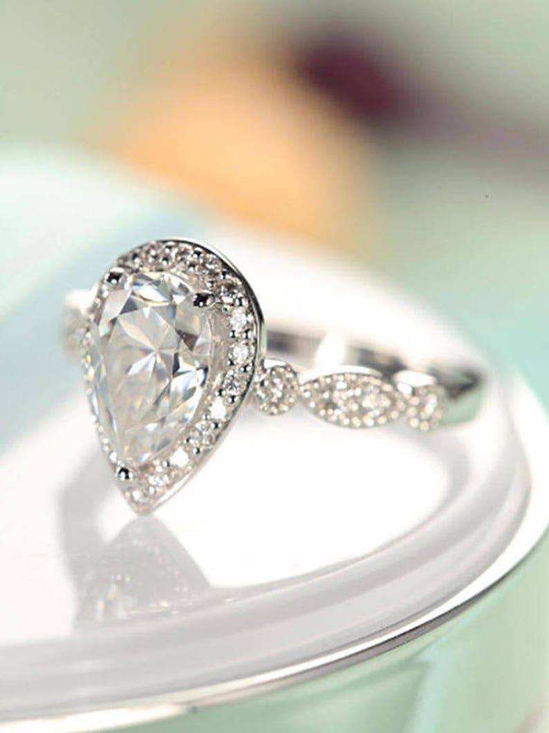 8b1e436da1792 69mm moissanite ring Pear shaped ring engagement ring white