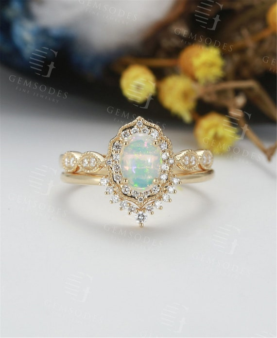 Opal Engagement Ring Set Vintage Yellow Gold Moissanite Etsy