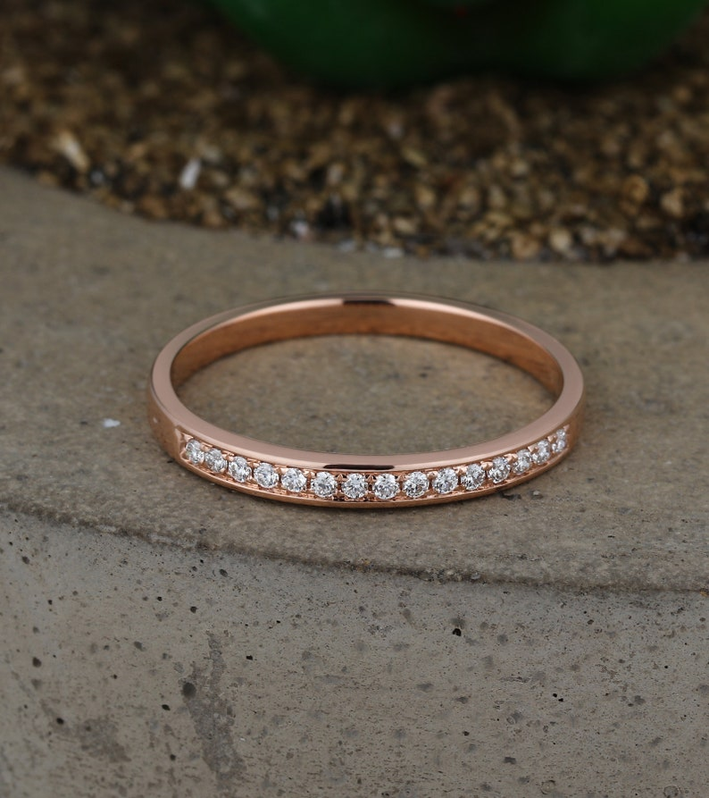 Rose gold wedding band women Half eternity Diamond ring Bridal set Jewelry Matching Micro pave Promise Anniversary Birthday gift for her