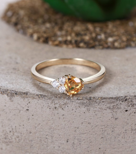 Rose Gold Engagement Ring Citrine Unique Vintage Antique Etsy
