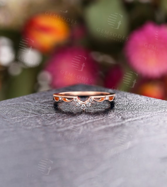 Unique Wedding band women Moissanite Wedding band Vintage Wedding band Art Deco Anniversary gift for her Curved Diamond Rose gold ring