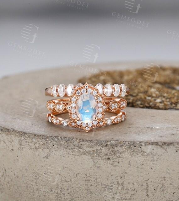 3 Pcs Vintage Moonstone Engagement Ring Rose Gold Women Etsy