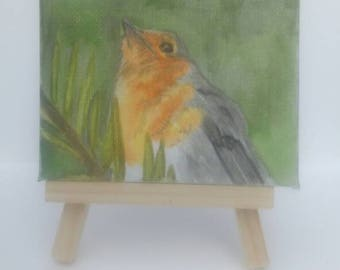 Watercolour painting of a Robin on mini canvas 7x9 with easel.