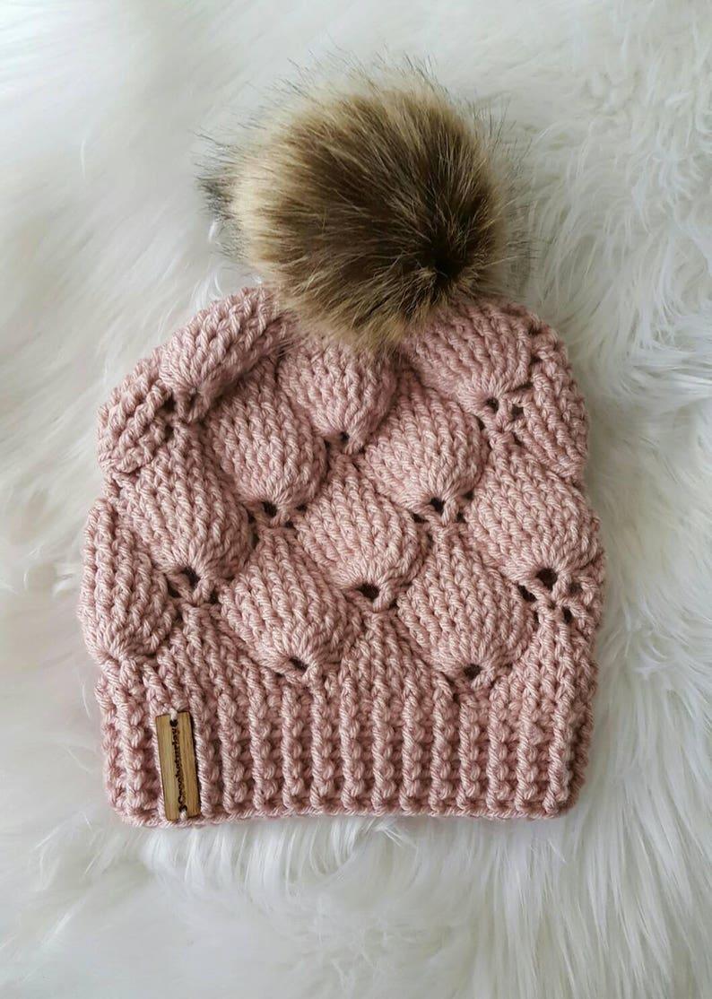 61a15dfc453 Fairy shells Beanie pom pom hat vintage women s hat