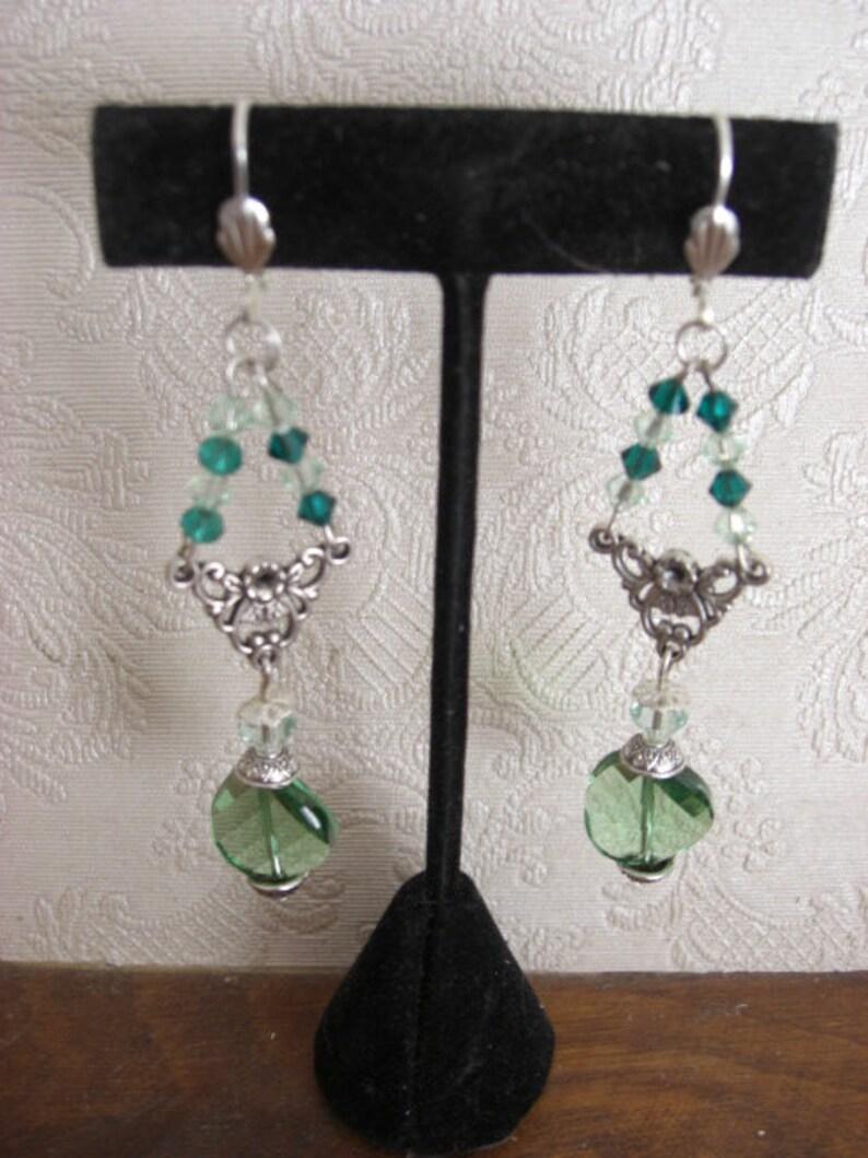 green seed beads Pearl twist peridot earrings Dangle chandelier
