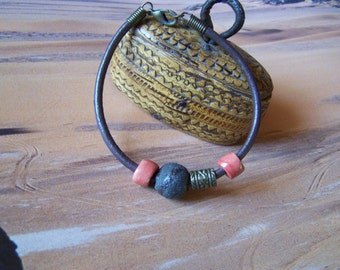"""Ceramic bracelet and leather """"Earth and"""""""