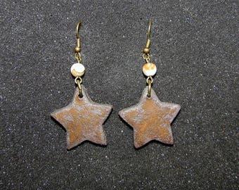 "Earrings Star ""Earth and jewelry"" in sandstone and ocean Jasper"