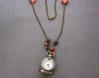 """Watch necklace ceramic hearts """"Earth and jewelry"""""""