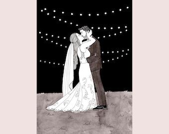 Personalized wedding portrait, custom wedding gift, personalized newly weds gift, custom wedding art, wedding art gift, wedding illustration