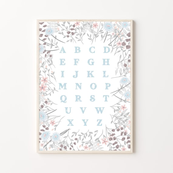 Floral Nursery Alphabet Print | Wildflower Daisy Print for Nursery or Children's room available in 6 colours | Size A4 or A3