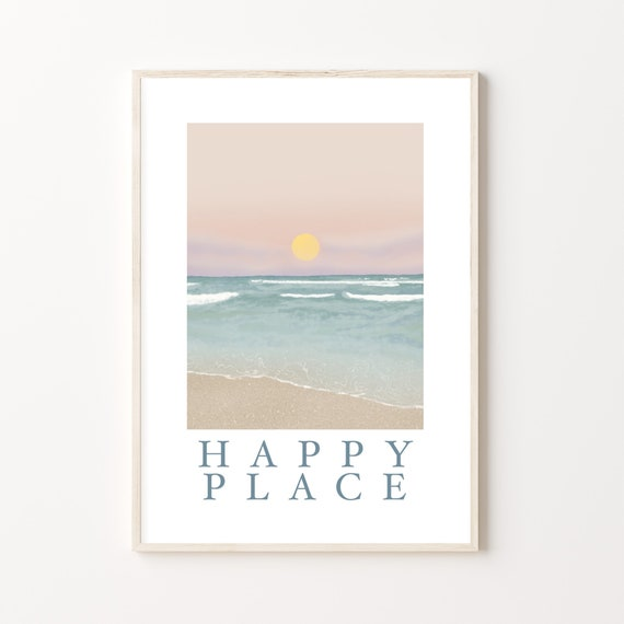 Happy Place | By the sea, Ocean Lover, Calming Print | Beautiful pastel A4 A3 seascape scenery illustration of Fistral Beach in Newquay