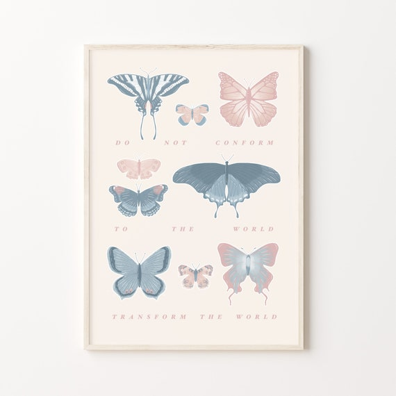 Transform the World Print | Butterfly Wildlife Bible Verse Boho Print | Sizes A5, A4 and A3 | Grey and Navy Blue, Beige and Blush Pink