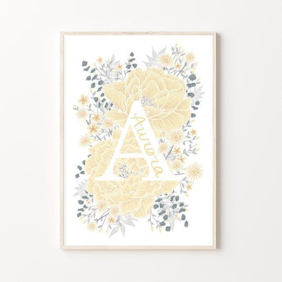 Personalised Hand Lettered Name Initial Print with Peony Flowers | Nursery or Children's Room | A4 and A3 | Available in 6 colours