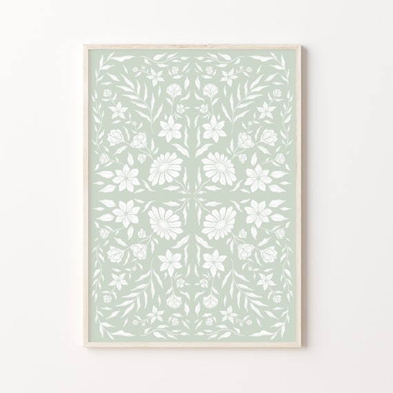Moroccan Meadow Print | Floral Morocco tile inspired repeat pattern poster | A5, A4 and A3 | Green, Pink, Blue, Navy, Yellow, Beige, Grey