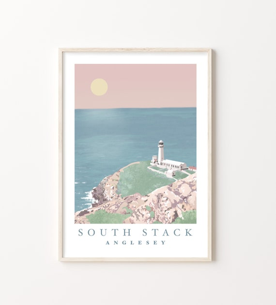 South Stack, Anglesey Landscape Print | Welsh coast lighthouse seascape illustration | Blush Pink, Pastel Blue, Sea View | A4 and A3