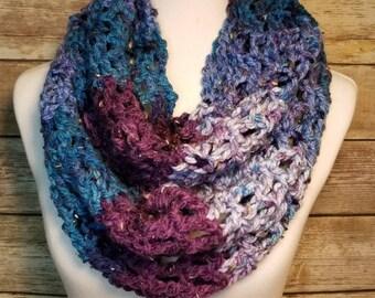 Handmade crochet infinity scarf, Blue scarf, Purple scarf, Striped scarf, Crochet scarf, Infinity scarf,  Handmade scarf, Bulky Tweed Yarn