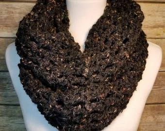 Crochet infinity scarf, black  scarf, handmade scarf, ready to ship, black infinity scarf, black crochet, infinity scarf, black tweed yarn,