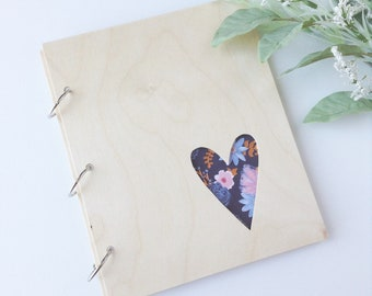 wooden heart photo album refillable floral photo album birthday gift mothers day gift graduation gift