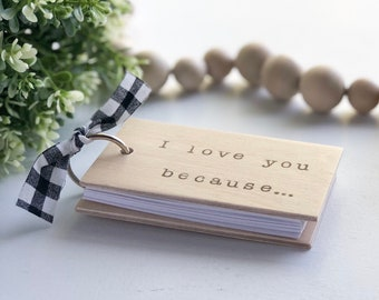 I Love You Because Mini Notebook, Christmas Gift For Husband, Wife, Kids, Gift for Grandparents, 5th Wedding Anniversary Gift, Small Journal