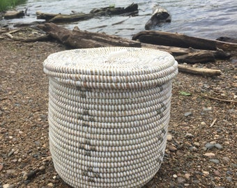 Woven Basket With Lid Etsy