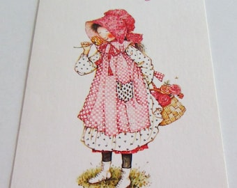 Vintage greeting card etsy vintage greeting card used card birthday card cute holly hobbie girl w basket of roses smelling rose m4hsunfo