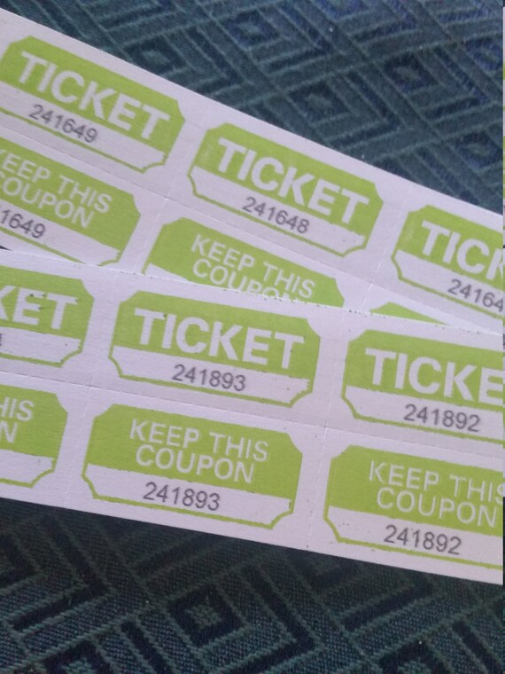 25 lime green 2 part tickets raffle tickets vintage paper etsy