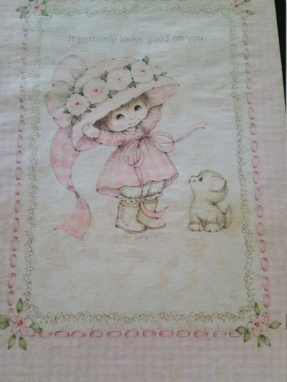 Vintage Greeting Card Little Girl Giving Girl a Pink Flower Vintage Suzy Angel Angelove Ambassador Greeting Card