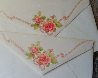 Vintage Envelope Collection ~ Trio of Hallmark Rose Scented Decorated Envelopes