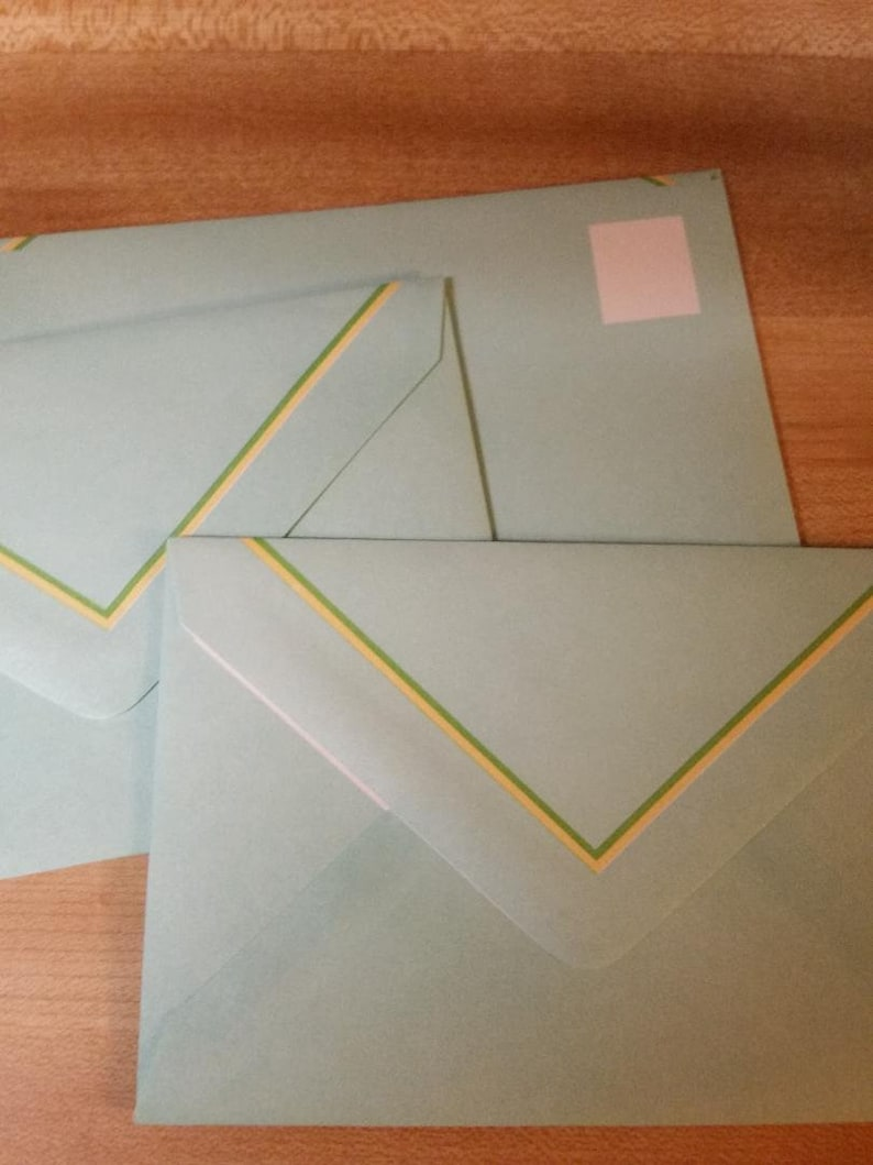Vintage Envelope Collection ~ Trio of Mint Blue with Yellow and Green Trim Decorated Envelopes