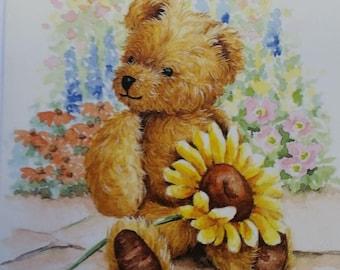 Vintage Greeting Card - Mill Brook Studio Blank Card  - Cute Teddy Bear Holding Sunflower