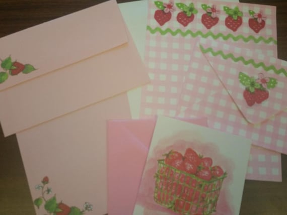 Vintage Stationery Collection ~ Vintage Mini Pink Strawberry Stationery Collection Junk Journal Papers