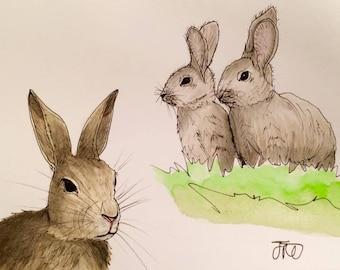Original Rabbit Rabbits Bunny Bunnies Farm Animals Watercolour Painting