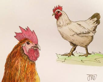 Original Chickens Hens Rooster Farm Animals Watercolour Painting