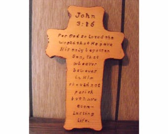 Christian Wooden Cross Wall Hanging Bible Verse John 3:16 Unique Holiday Gift Idea