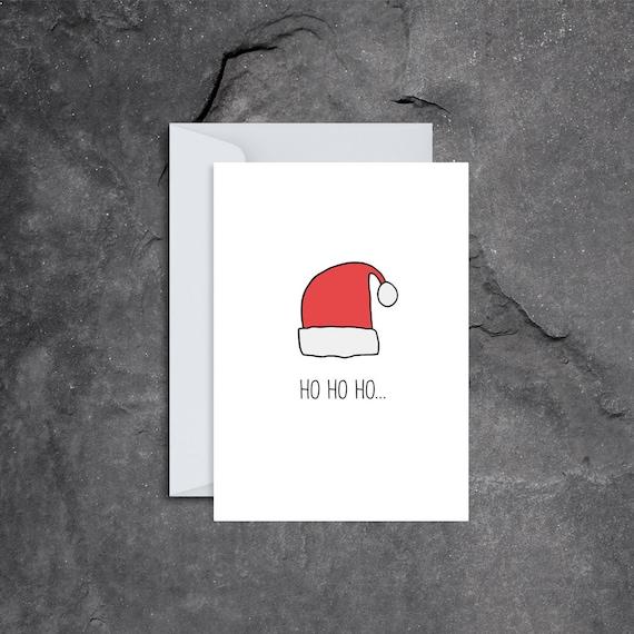 2c240913858 Ho Ho Ho Santa Hat Christmas Single Card Coloured Stylised