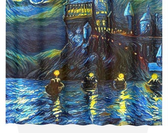 Starry Night Boats Castle Fabric Shower Curtain Art Print Gift