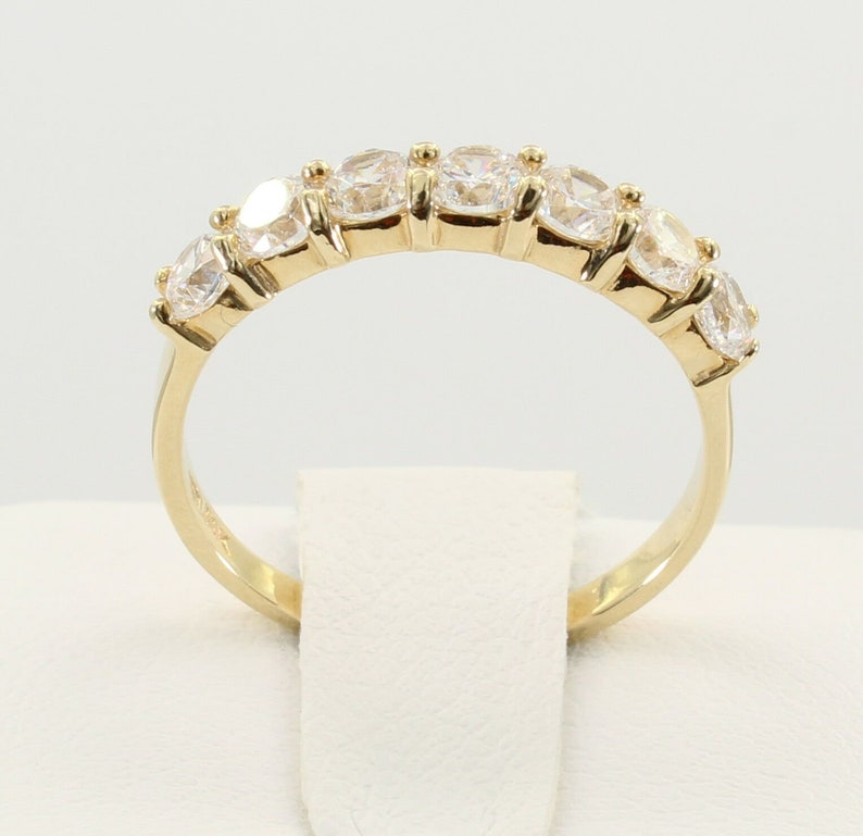 0.75 Ct 14K Real Yellow Gold Seven 7 Stones Round Wedding Anniversary Ring Band