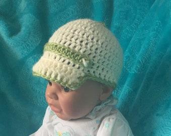 Crochet Newborn to 3 month Brimmed Hat