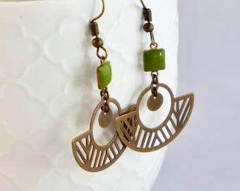 sober  gift Christmas jewel mother/'s woman Fan earrings in brass and duck blue enamel  graphic jewelry Art Deco  feminine jewel