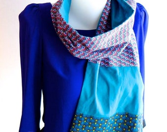 Echarpe, étole   tissu japonais ethnique   éventail bleu canard   plume de  paon   hiver élégant doux   accessoire homme femme   Une Embellie e294794ab7a