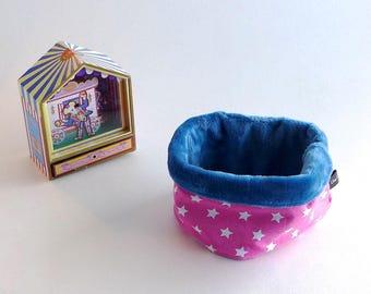 Snood, tour de cou, col pour bébé 12-24 mois, coton rose à étoile blanches  et douillette ultra douce et chaude bleu   cadeau bébé hiver 2ca2ffb5abe