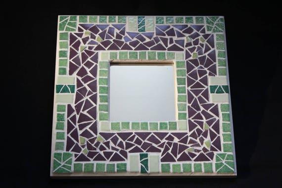 Miroir Mosaïque Violet et 2 nuances de Vert cadeau déco   Etsy 6fc9a321ef0