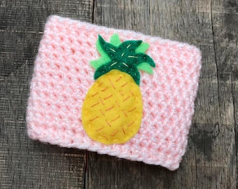 Summer Pineapple Coffee Cozy / Reusable Coffee Cozy / Crochet Coffee Sleeve