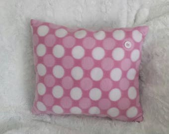 Pink polka dot pillow