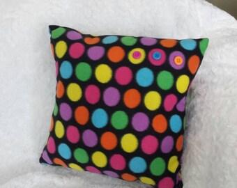 Colorful polka dot pillow