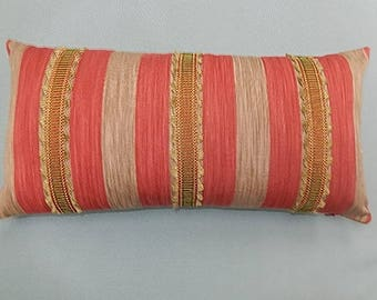 Striped Indoor/Outdoor Pillow - Red, Taupe, Gold - Decorative, Couch, Living Room, Bed Pillow