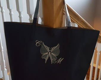 A Beautiful Custom Embroidered and Monogrammed Tote bag.