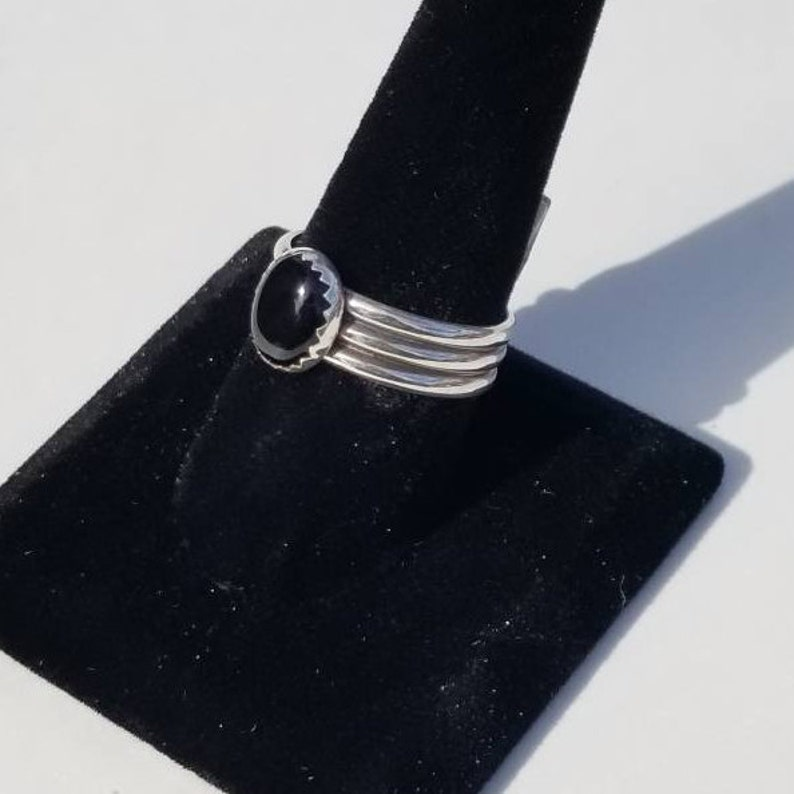 Handmade sterling silver black onyx size 8.5 ring 8x10 mm solitaire cabochon personally handcrafted men/'s woman/'s wide unique artisan